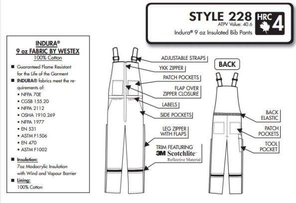 indura ultrasoft Bib pants HRC4-2